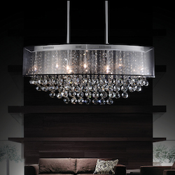 Crystal World 9 Light Drum Shade Chandelier With Chrome Finish