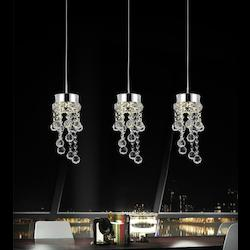 Crystal World 3 Light Multi Light Pendant With Chrome Finish