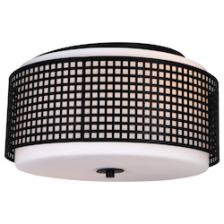 Crystal World 2 Light Drum Shade Flush Mount With Black Finish