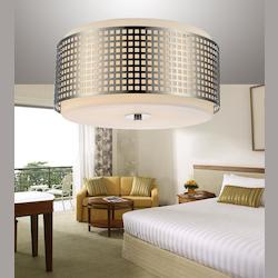 Crystal World 2 Light Drum Shade Flush Mount With Satin Nickel Finish