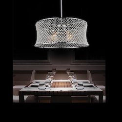 Crystal World 3 Light Down Chandelier With Chrome Finish
