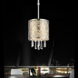 Crystal World 1 Light Drum Shade Mini Pendant With Satin Nickel Finish