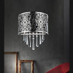 Crystal World 2 Light Wall Sconce With Satin Nickel Finish