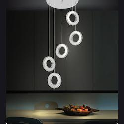 Crystal World Led Multi Light Pendant With Chrome Finish