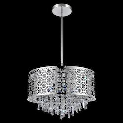 Crystal World 5 Light Drum Shade Chandelier With Chrome Finish