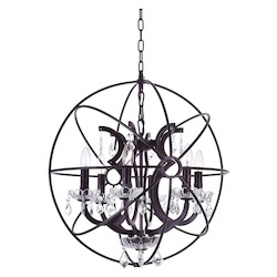 Crystal World 6 Light Up Chandelier With Brown Finish