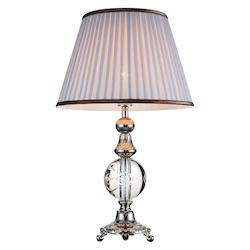 Crystal World 1 Light Table Lamp With Brushed Nickel Finish