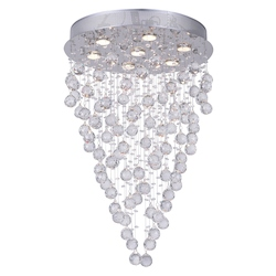 Crystal World 7 Light  Flush Mount With Chrome Finish