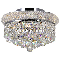 Crystal World 3 Light  Flush Mount With Chrome Finish