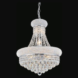 Crystal World 8 Light Down Chandelier With Chrome Finish