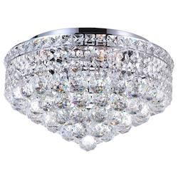 Crystal World 5 Light  Flush Mount With Chrome Finish