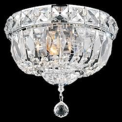 Crystal World 3 Light Bowl Flush Mount With Chrome Finish