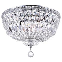 Crystal World 5 Light Bowl Flush Mount With Chrome Finish