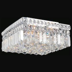 Crystal World 4 Light  Flush Mount With Chrome Finish
