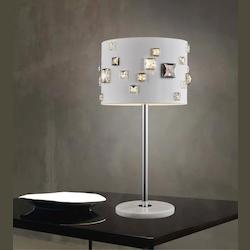 Crystal World 4 Light Table Lamp With White Finish