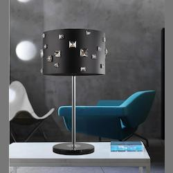 Crystal World 4 Light Table Lamp With Black Finish