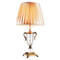 Crystal World 1 Light Table Lamp With Antique Brass Finish