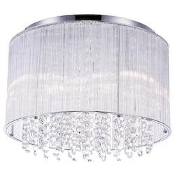Crystal World 6 Light Drum Shade Flush Mount With Chrome Finish