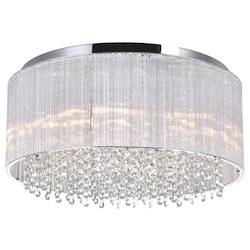 Crystal World 8 Light Drum Shade Flush Mount With Chrome Finish
