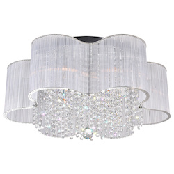 Crystal World 9 Light Drum Shade Flush Mount With Chrome Finish