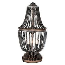 Crystal World 2 Light Table Lamp With Antique Bronze Finish
