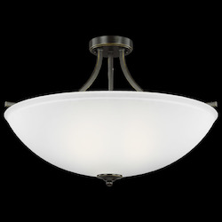 Sea Gull Large Four Light Semi-Flush Convertible Pendant