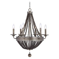 Uttermost Uttermost Thursby Brass 6 Light Beaded Chandelier