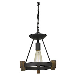 CAL Lighting 60W Cruz Metal/Wood Pendant (Edison Bulb Not Included)