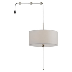 CAL Lighting 60W X 2 Swag Drum Pendant Fixture With 15Ft Cord With Plug And 3 Cord Hangers