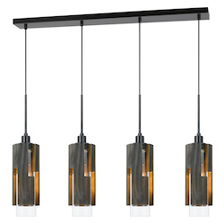 CAL Lighting 60W X 4 Reggio Wood Pendant Glass Fixture (Edison Bulbs Not Included)