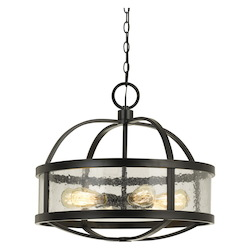 CAL Lighting 60W X 6 Granada Circular Metal Chandelier With Bubbled Frosted Glass (Edison Bul