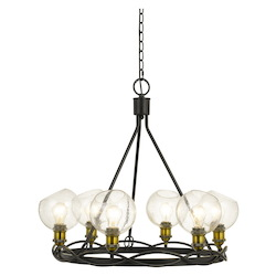 CAL Lighting 60W X 6 Soria Metal Chandelier With Bulbbed Round Glass Shade (Edison Bulbs Not