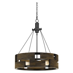 CAL Lighting 60W X 3 Bradford Metal And Wood Chandelier (Edison Bulbs Not Included)