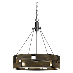 CAL Lighting 60W X 6 Bradford Metal And Wood Chandelier (Edison Bulbs Not Included)