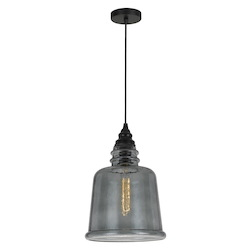 CAL Lighting 60W Scafati Rippled Glass Pendant (Edison Bulb Not Included)