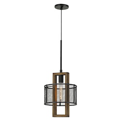 CAL Lighting 60W Monza Wood Chandelier With Mesh Shade (Edison Bulbs Not Included)