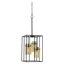 CAL Lighting 60W X 3 Cremona Glass Pendant Fixture (Edison Bulbs Not Included)