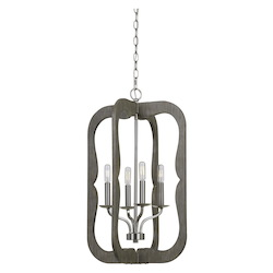 CAL Lighting 40W X 4 Portici Wood Pendant Fixture (Edison Bulbs Not Included)