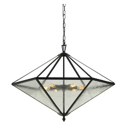 60W X 6 Brescia Rippled Glass Chandelier (Edison Bulbs Not Included)