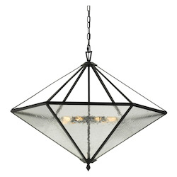 60W X 9 Brescia Rippled Glass Chandelier (Edison Bulbs Not Included)