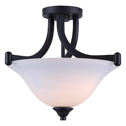 Canarm Rue, Isf587A02Ra, 2 Lt Semi-Flush Mount, Flat Opal Glass, 60W Type A, 15In. X