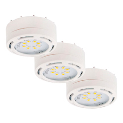 Canarm Undercabinet, 3580Led-Pl3Wht-C, 120V Linkable Led Puck Light, White,3 Light Kit,
