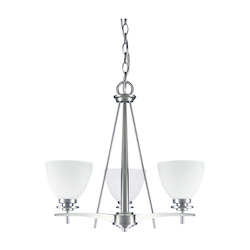 Canarm New Yorker, Ich256A03 Bpt, 3 Light Chandelier, Flat Opal Glass, 100W Type A, 18&