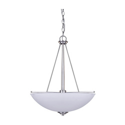 Canarm New Yorker, Ich256A03Bpt18, 3 Lt Bowl Chandelier, Flat Opal Glass, 100W Type A,