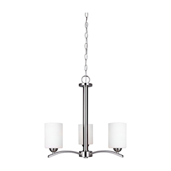 Canarm ICH370A03BN Hampton, Ich370A03Bn, 3 Lt Chain Chandelier, Line Painted Glass, 100W Type A, 20