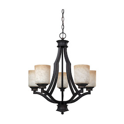 Canarm Warren, Ich375A05Ra, 5 Lt Chandelier, Tea Stained Glass, 100W Type A, 22In. W