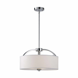 Canarm Milano, Ich425A03Ch16, 3 Lt Rod Chandelier, White Fabric Shade, Frosted Glass Di