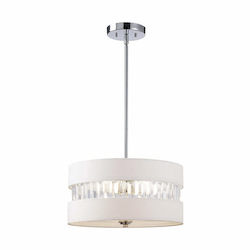 Canarm Ballard, Ich426A03Ch16, 3 Lt Rod Chandelier, Fabric Shade With Acrylic, 100W Typ