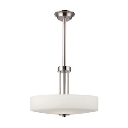 Canarm Quincy,  Ich431A03Bn16, 3 Lt Rod Chandelier, Flat Opal Glass, 100W Type A, 16&#3