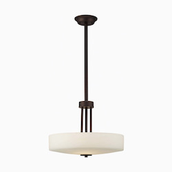 Canarm Quincy, Ich431A03Orb16, 3 Lt Rod Bowl Chandelier, Flat Opal Glass, With 1-6In.
